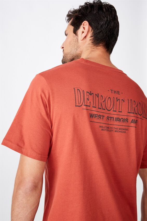 Tbar Moto T-Shirt, SK8 BRUSCHETTA RED/DETROIT IRON