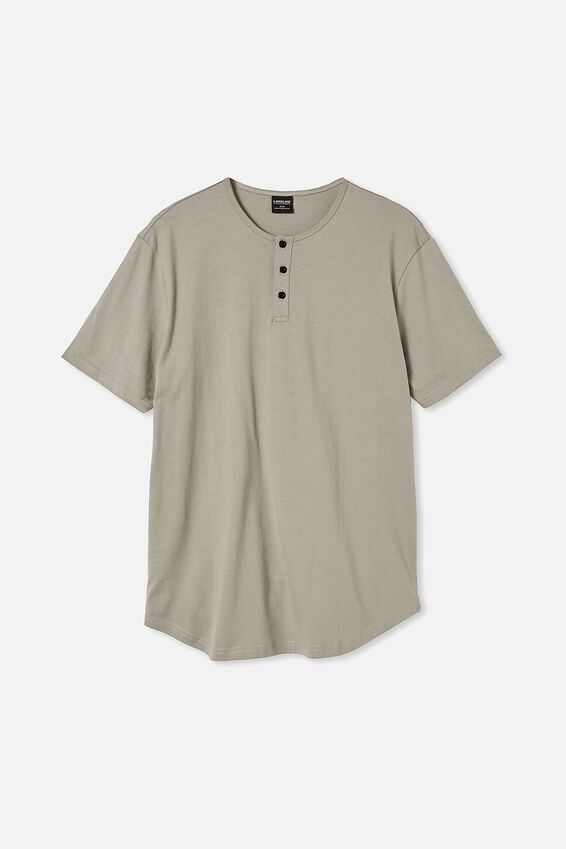 Longline Scoop Henley T-Shirt, MOSS STONE