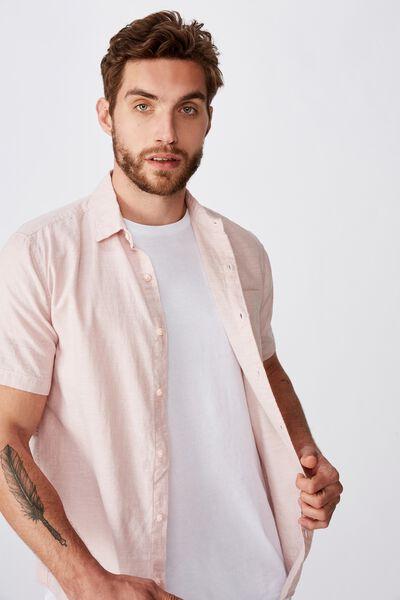 Premium Linen Cotton Short Sleeve Shirt, DUSTY PINK