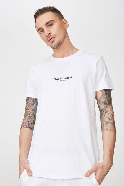Longline Scoop Hem Tee, WHITE/DARK VICES HARLEM DISTRICT