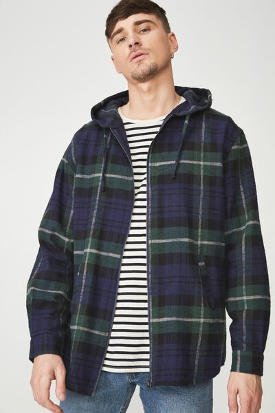 Zip Hood Shirt, INDIGO GREEN CHECK