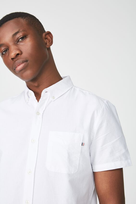 Vintage Prep Short Sleeve Shirt, WHITE OXFORD