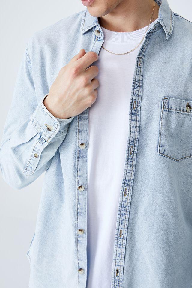 Camden Long Sleeve Shirt, BLEACH DENIM