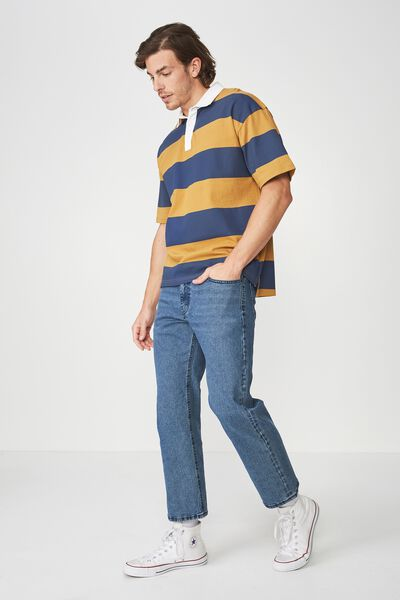 Oversized Short Sleeve Polo, NAVY BOLD TAN STRIPE
