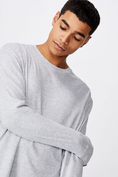 Tbar Long Sleeve, LIGHT GREY MARLE