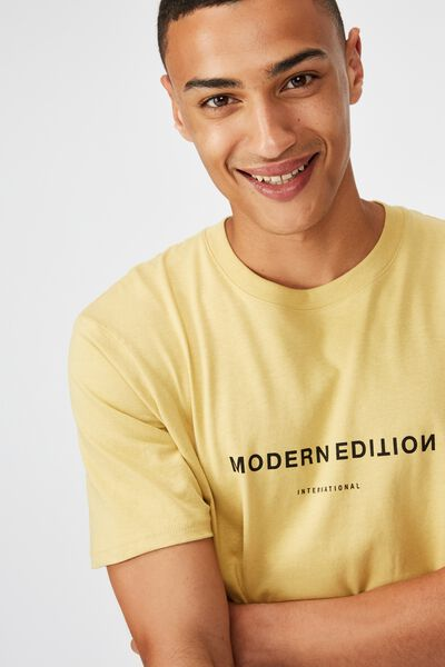 Tbar Text T-Shirt, FROSTED HONEY/MODERN EDITION FLIPPED