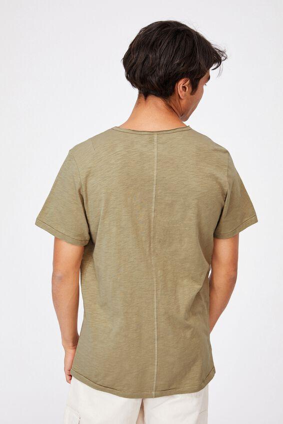 Slub Vee Neck T-Shirt, MOSS STONE