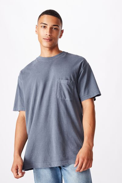 Washed Pocket T-Shirt, DUSTY DENIM