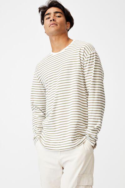 Brunswick Stripe Long Sleeve T-Shirt, JUNGLE KKHAKI/VINTAGE WHITE SIMPLE STRIPE