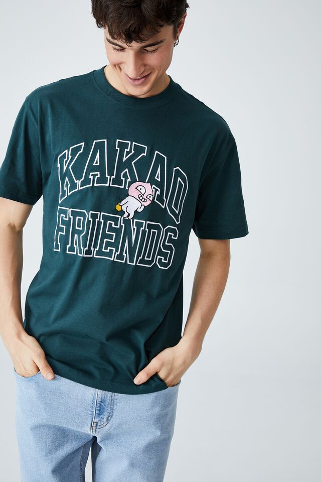 Kakao Friends T-Shirt, LCN KAK DEEP SEA TEAL/KAKAO - APEACH CHEEKY