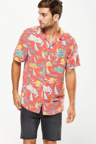 91 Short Sleeve Shirt, RED ALOHA