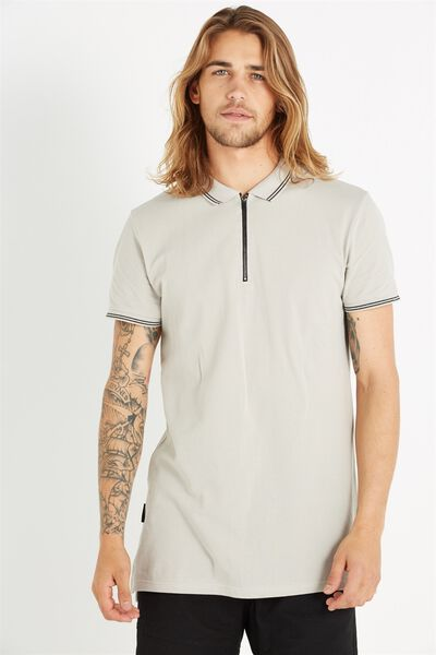 Ae Short Sleeve Longline Zip Polo, LIGHT GREY