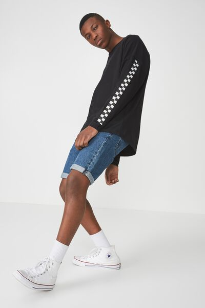 Drop Shoulder Long Sleeve, BLACK CHECKERBOARD
