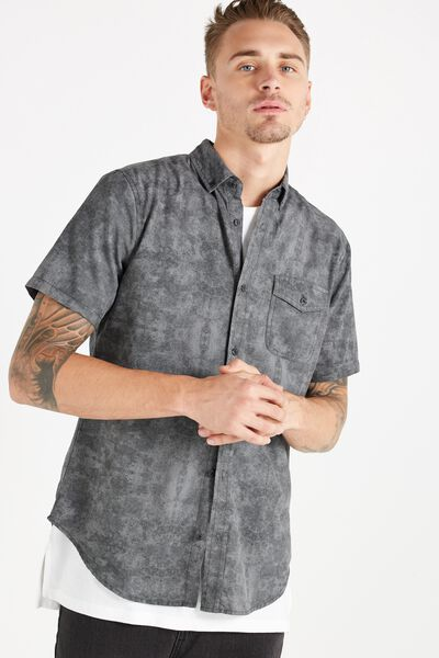 Easy Washed Short Sleeve Shirt, BLACK ACID TEXTURE