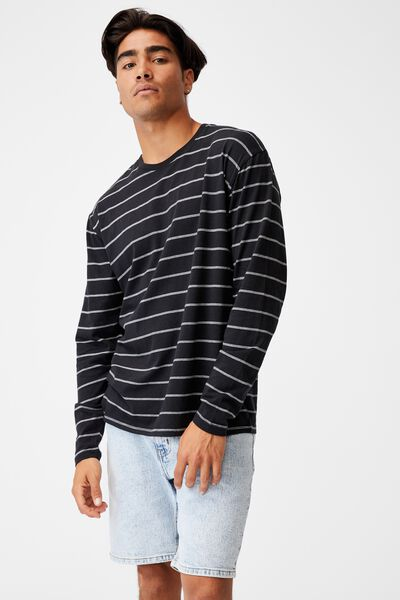 Brunswick Stripe Long Sleeve T-Shirt, BLACK/VINTAGE WHITE/TRIPLE STRIPE