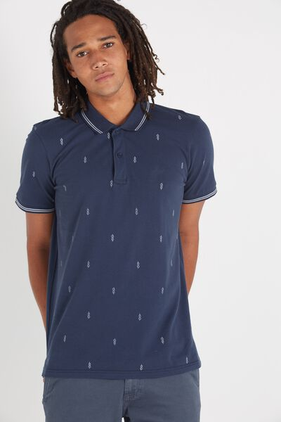 Short Sleeve Regular Fit Prep Polo, NAVY