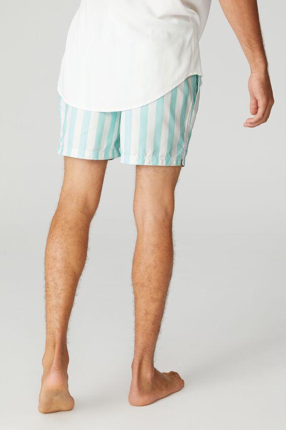 Swim Short, TEAL WHITE BOLD STRIPE