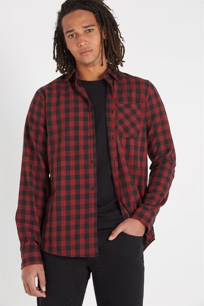 Rugged Long Sleeve Shirt, RED CHECK