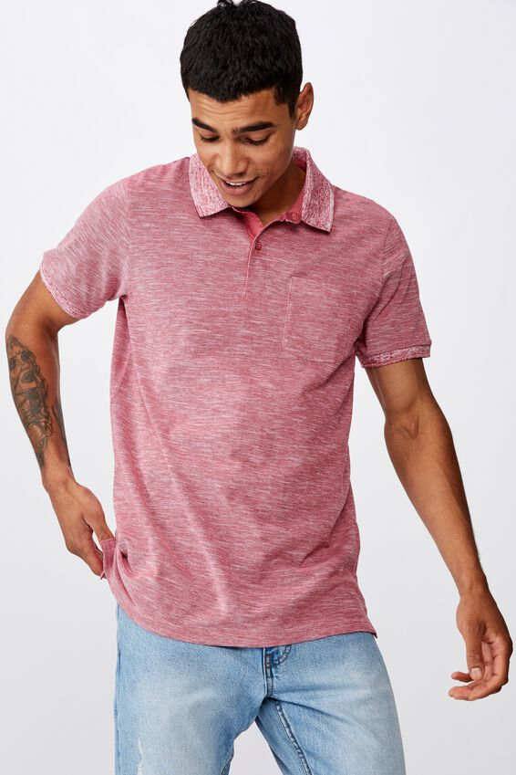 Brunswick Slub Polo, RED TEXTURE