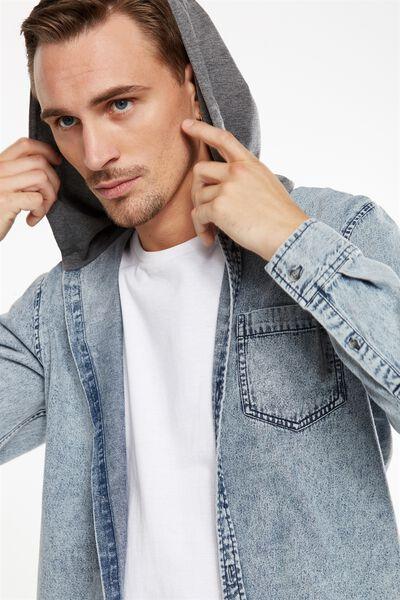 Rugged Hooded Shirt, LIGHT ACID DENIM