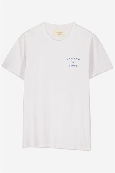 Tbar Tee 2, WHITE/STOKED AND BROKE