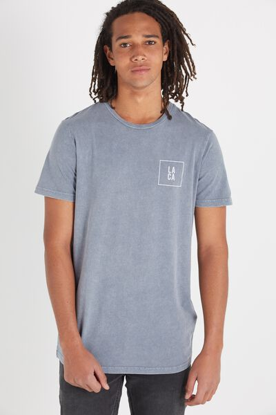 Longline Scoop Hem Tee, GREY FOG/SUNSET BLVD