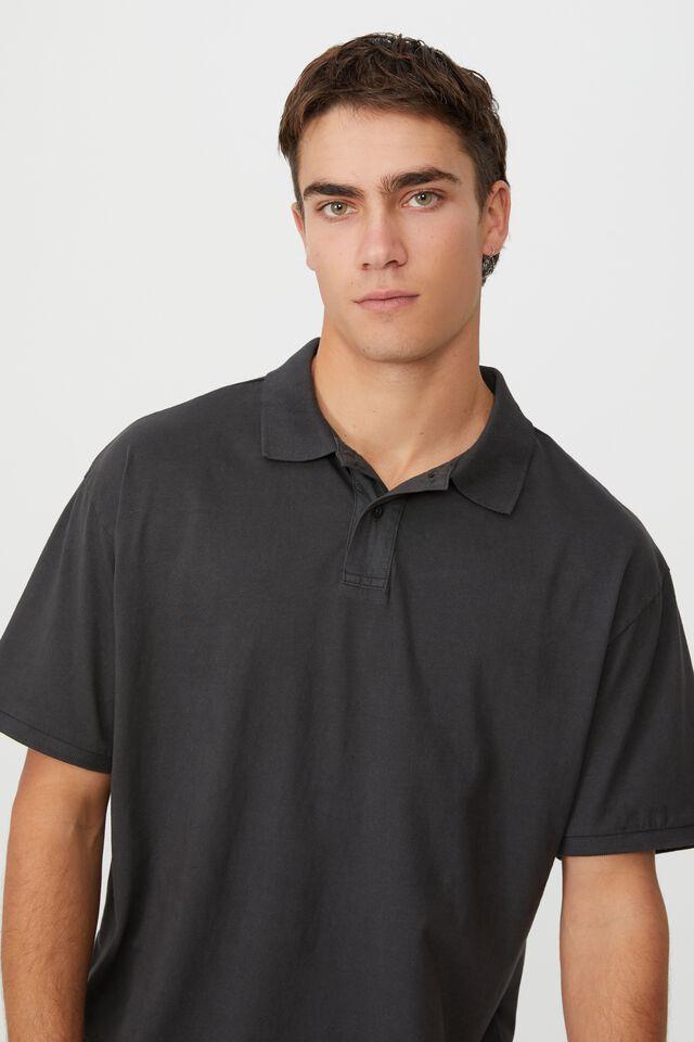 Oversized Washed Polo, WASHED BLACK