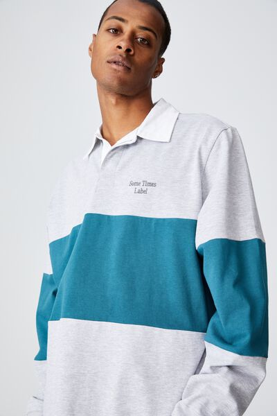 Rugby Long Sleeve Polo, DARK TEAL/LIGHT GREY MARLE