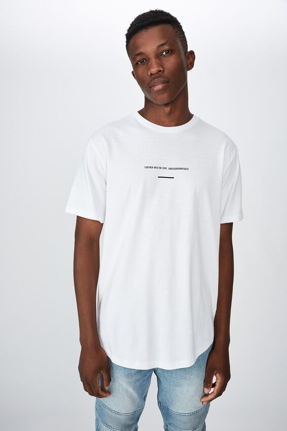 Longline Scoop Hem Tee, WHITE FURTHER INTO THE VOID