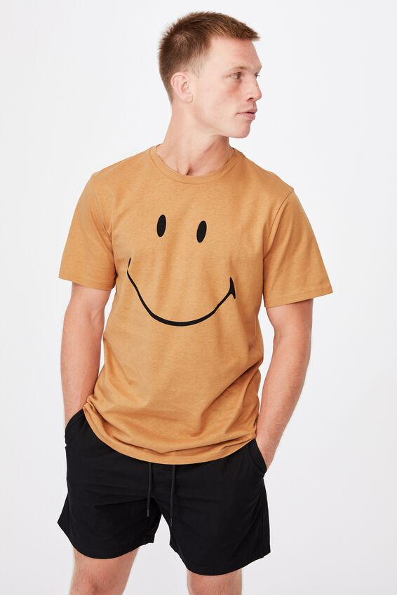 Tbar Collab Pop Culture T-Shirt, LCN SMI BRONZE/SMILEY-FACE
