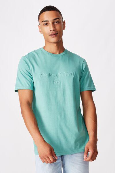 Tbar Text T-Shirt, DUSTY TEAL/MODERN EDITION NYC EMB