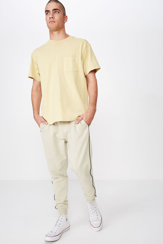 Trippy Slim Trackie, PALE SAND / PIPING