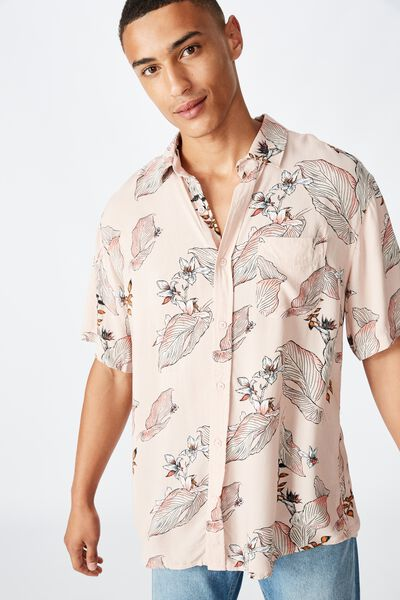 Short Sleeve Resort Shirt, PINK FLORAL