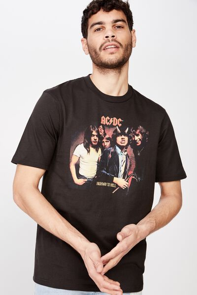 Tbar Collab Music T-Shirt, LCN PER SK8 WASHED BLACK/ACDC - HIGHWAY TO HELL