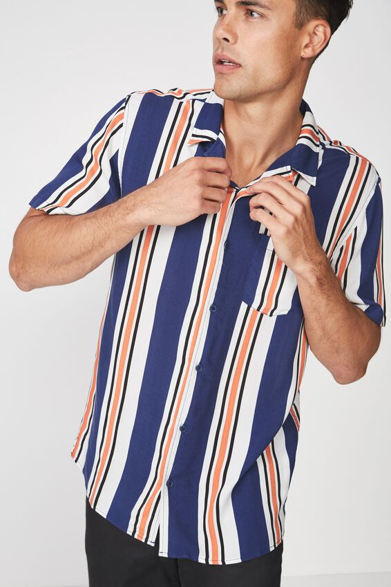 Festival Shirt, WHITE NAVY ORANGE STRIPE