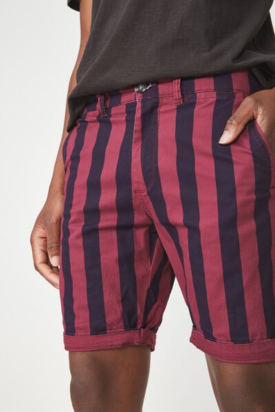 Washed Chino Short, WASHED NAVY/BERRY VERT STRIPE