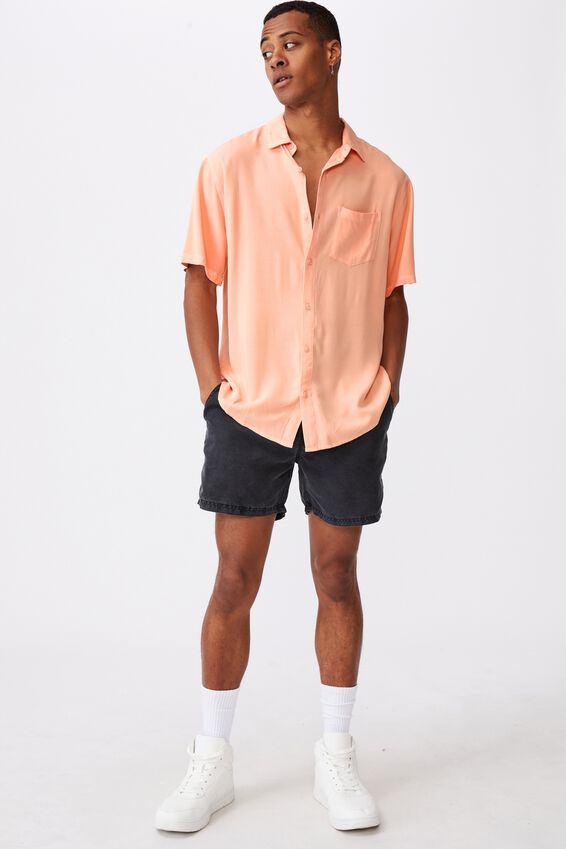 Cuban Short Sleeve Shirt, PEACH
