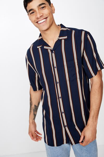 Festival Shirt, NAVY BROWN NATURAL STRIPE