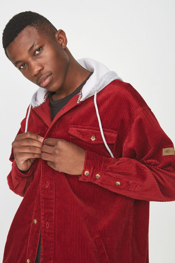 Hooded Cord Shirt, BRICK RED