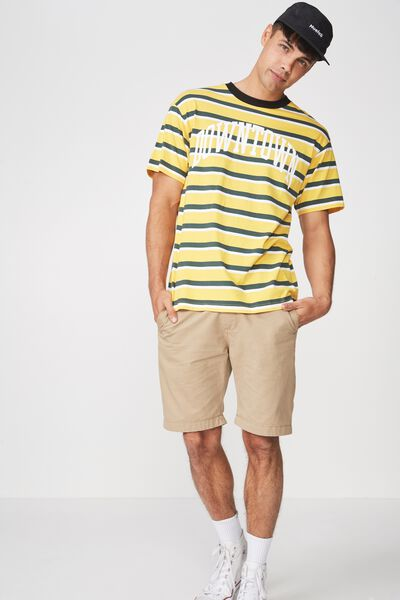 Downtown Loose Fit Tee, SAFETY YELLOW/FERN GREEN/VINTAGE WHITE STRIPE/CONT