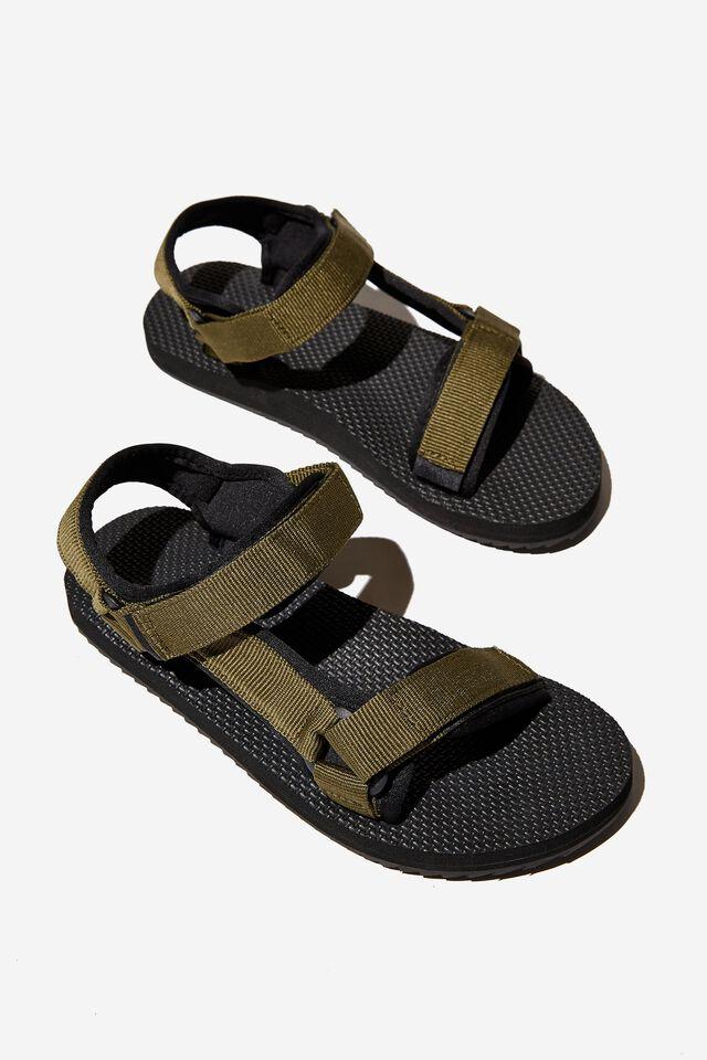 Mens Strap Sandal, OLIVE