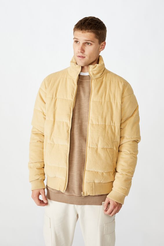 Cord Puffer Jacket, SAND