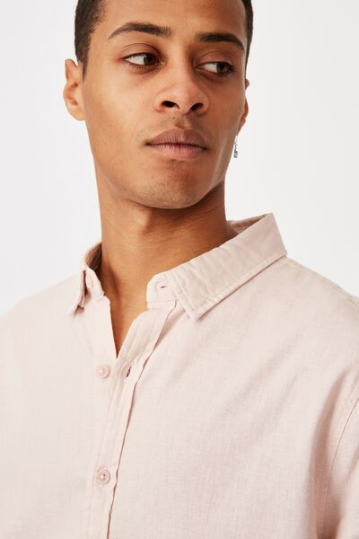 Linen Cotton Long Sleeve Shirt, POWDER PINK