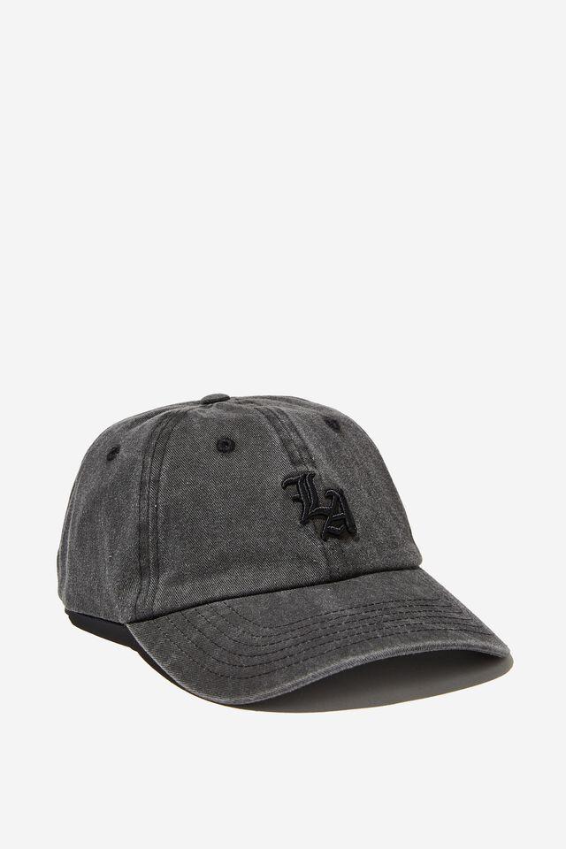 Vintage Strap Back Hat, WASHED BLACK/LA
