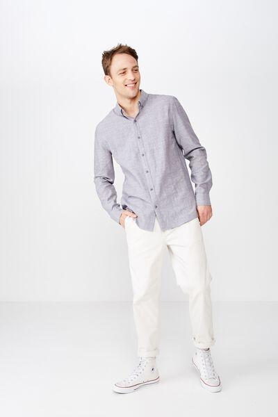 Premium Linen Cotton Long Sleeve Shirt, BLACK WHITE