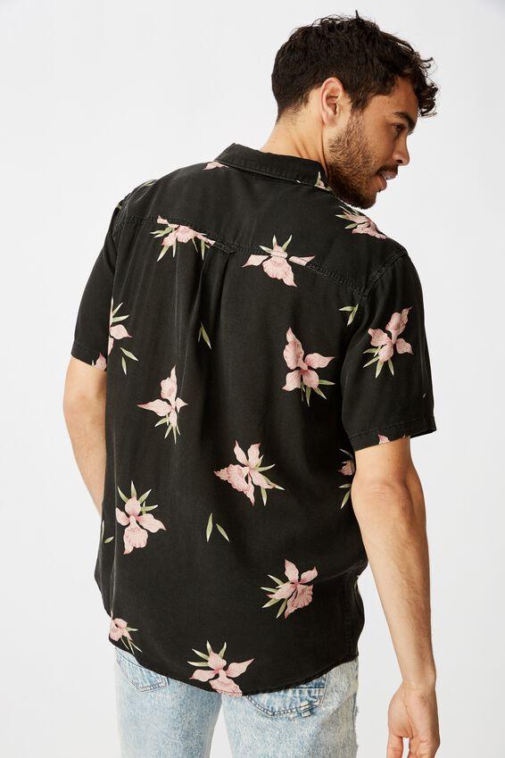 Short Sleeve Resort Shirt, HAWAIIAN BLACK