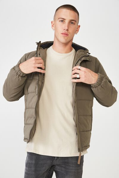 Outdoor Puffer Jacket, KHAKI