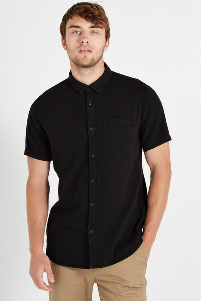 91 Short Sleeve Shirt, BLACK VINTAGE DENIM