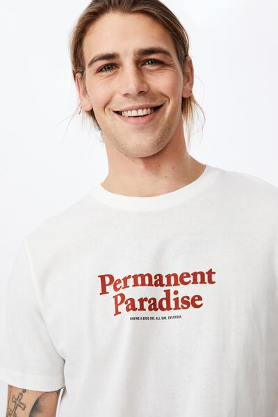 Tbar Text T-Shirt, VINTAGE WHITE/PERMANENT PARADISE