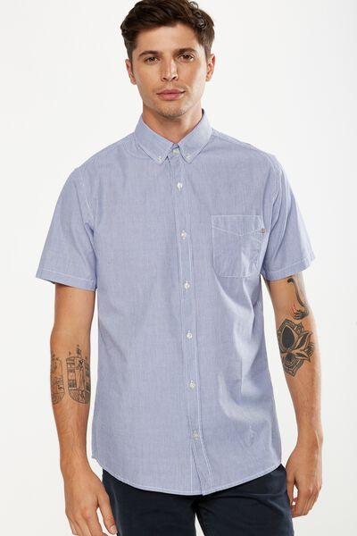 Vintage Prep Short Sleeve Shirt, WHITE NAVY STRIPE
